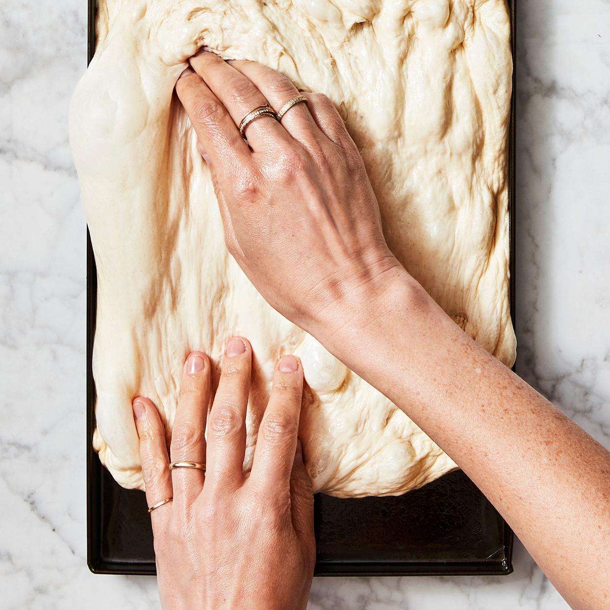 Direct High-Hydration Al Taglio Pizza Dough step 4 stretch fill pan
