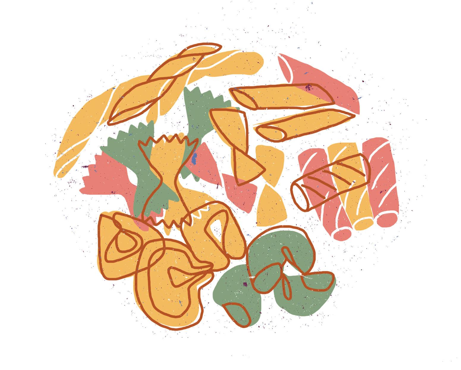 Assorted pasta illustration