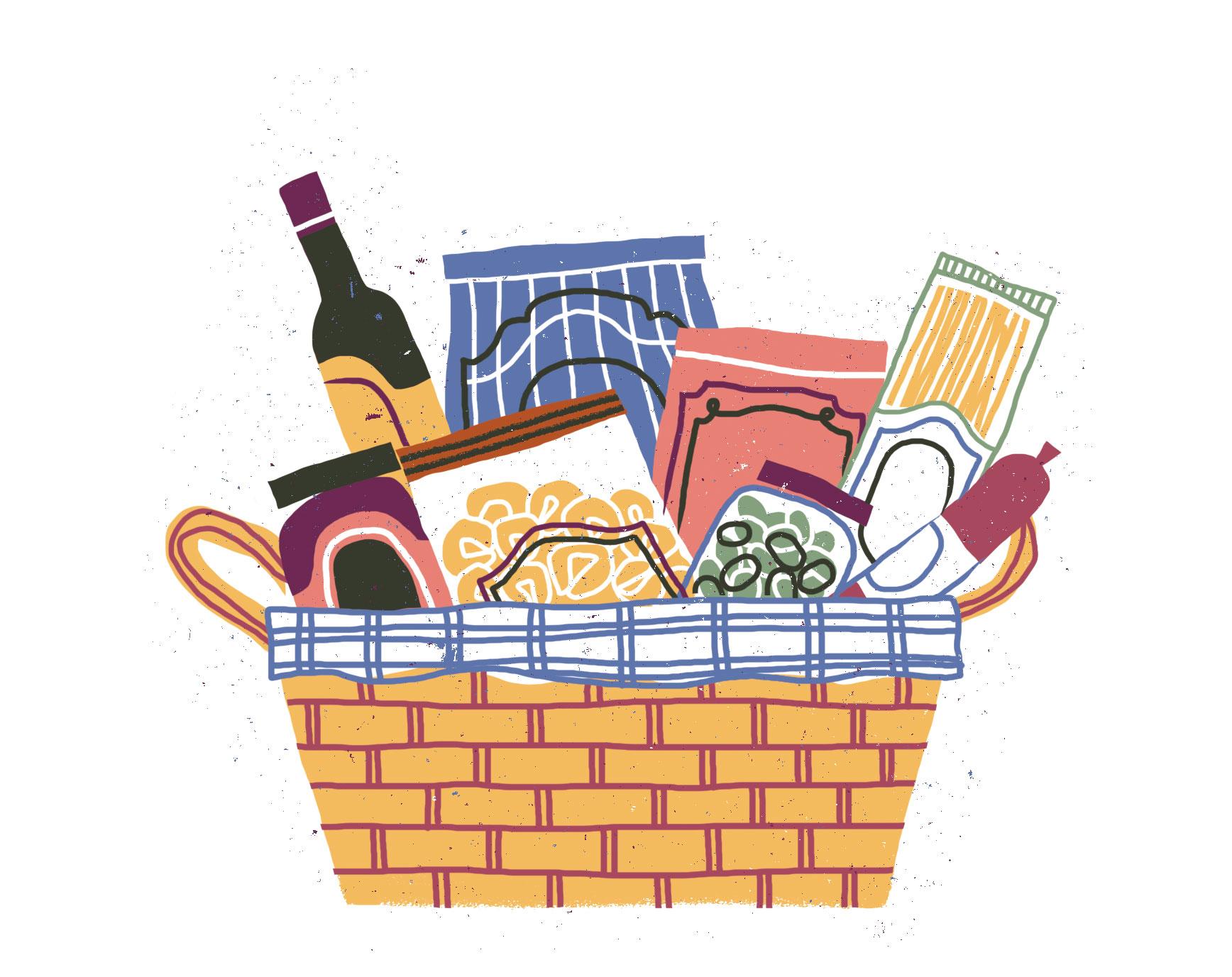 Italian import ingredients in basket illustration