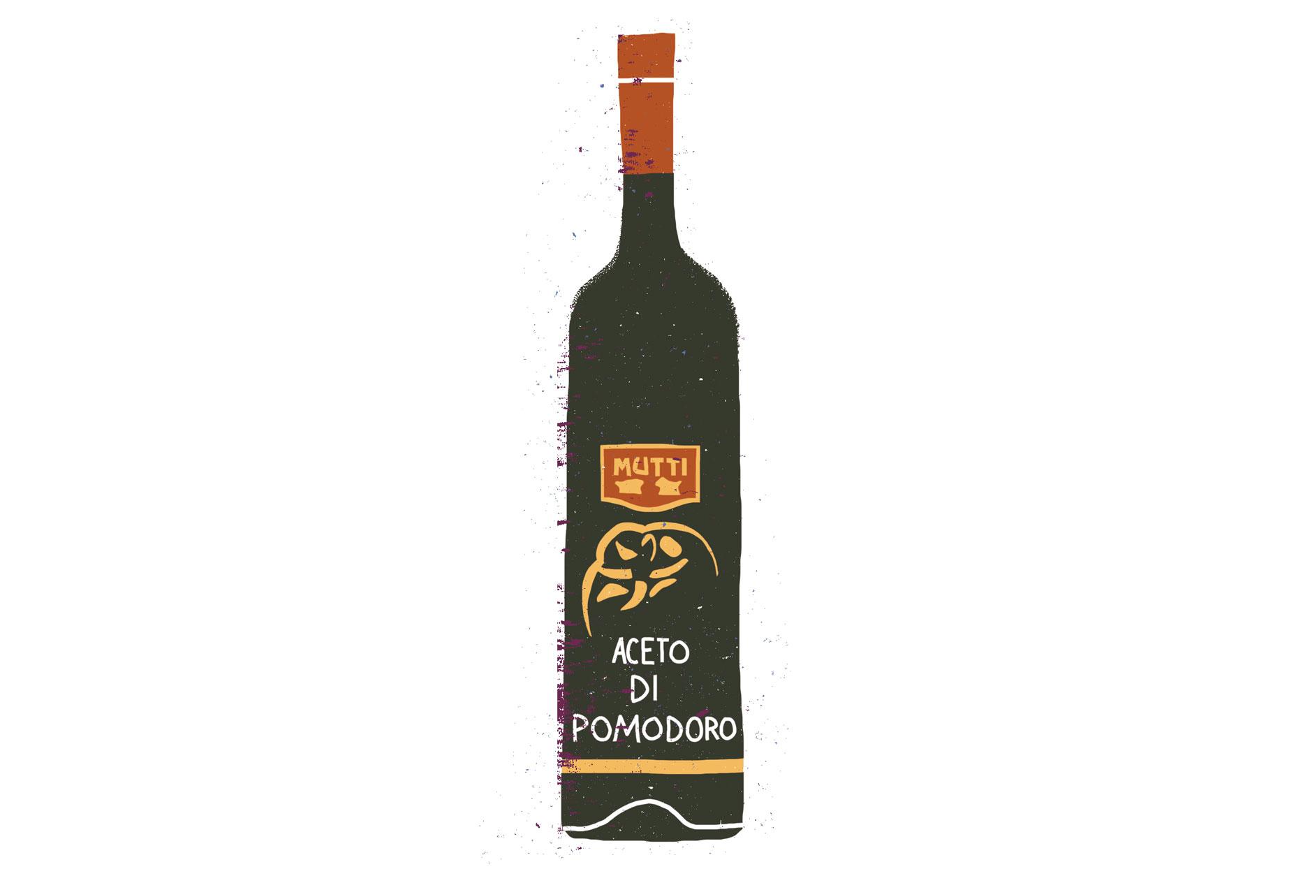 Mutti Tomato Vinegar bottle illustration