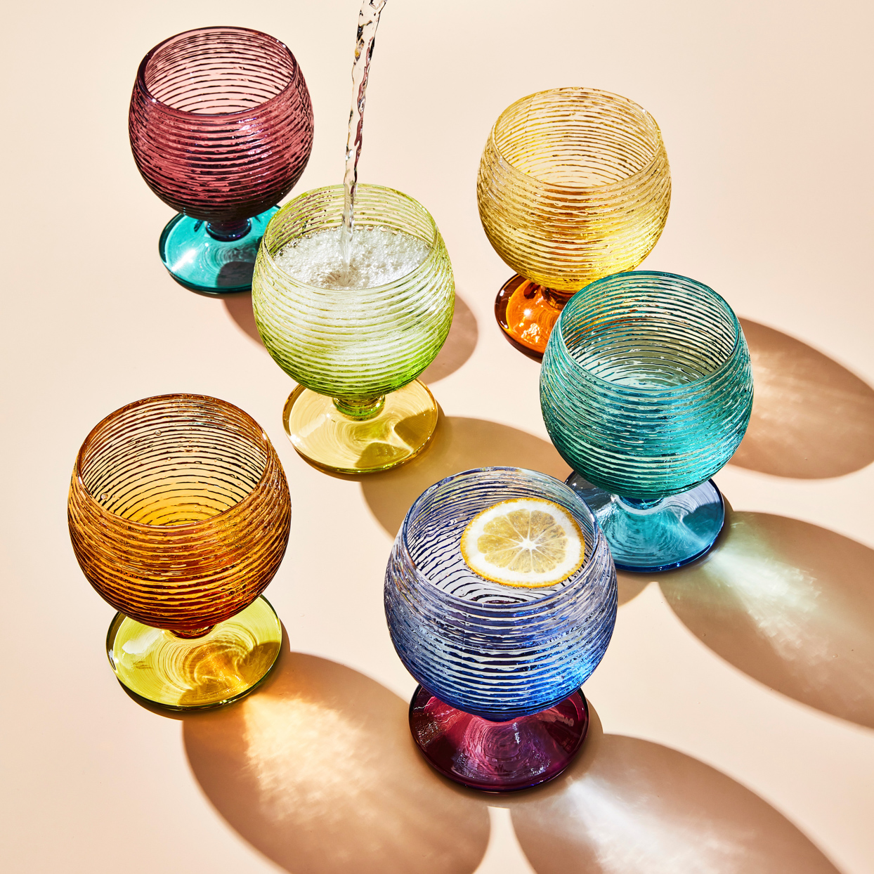 textured Multicolor Goblets
