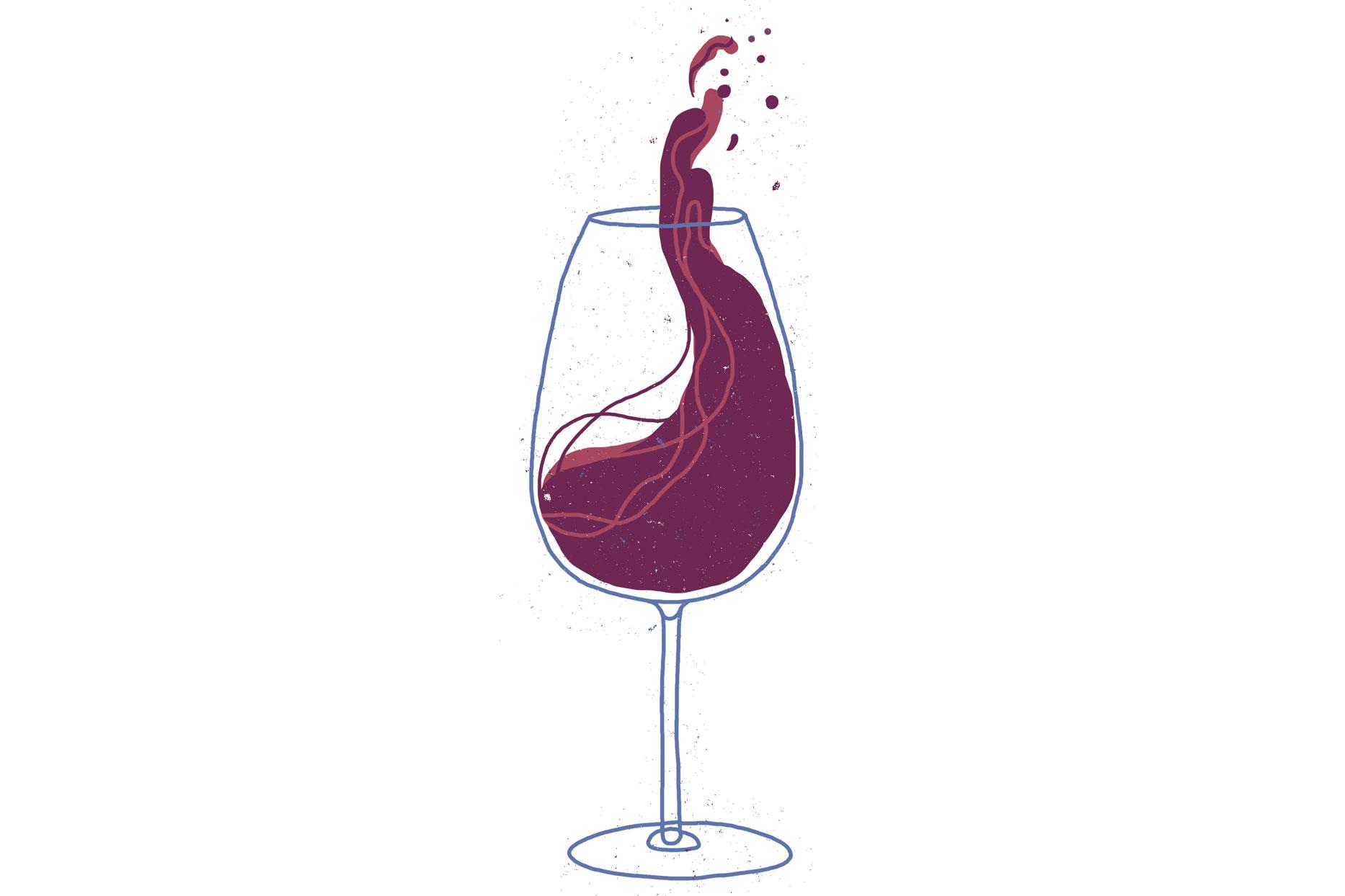 wine splashing up in wine glass illustration