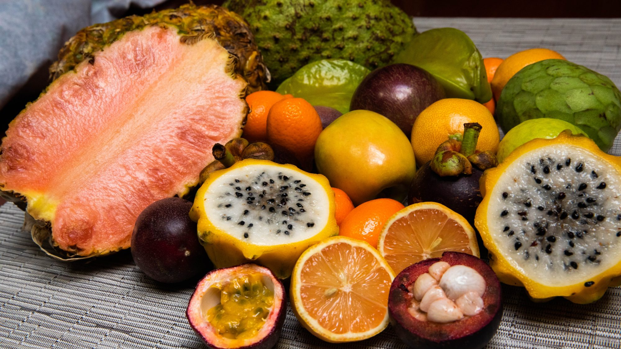 Close up of exotic fruits