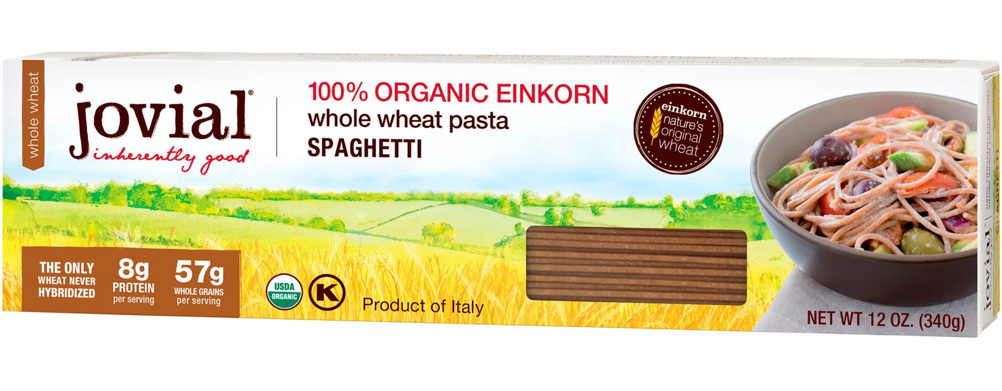 Product shot of the whole wheat einkorn spaghetti