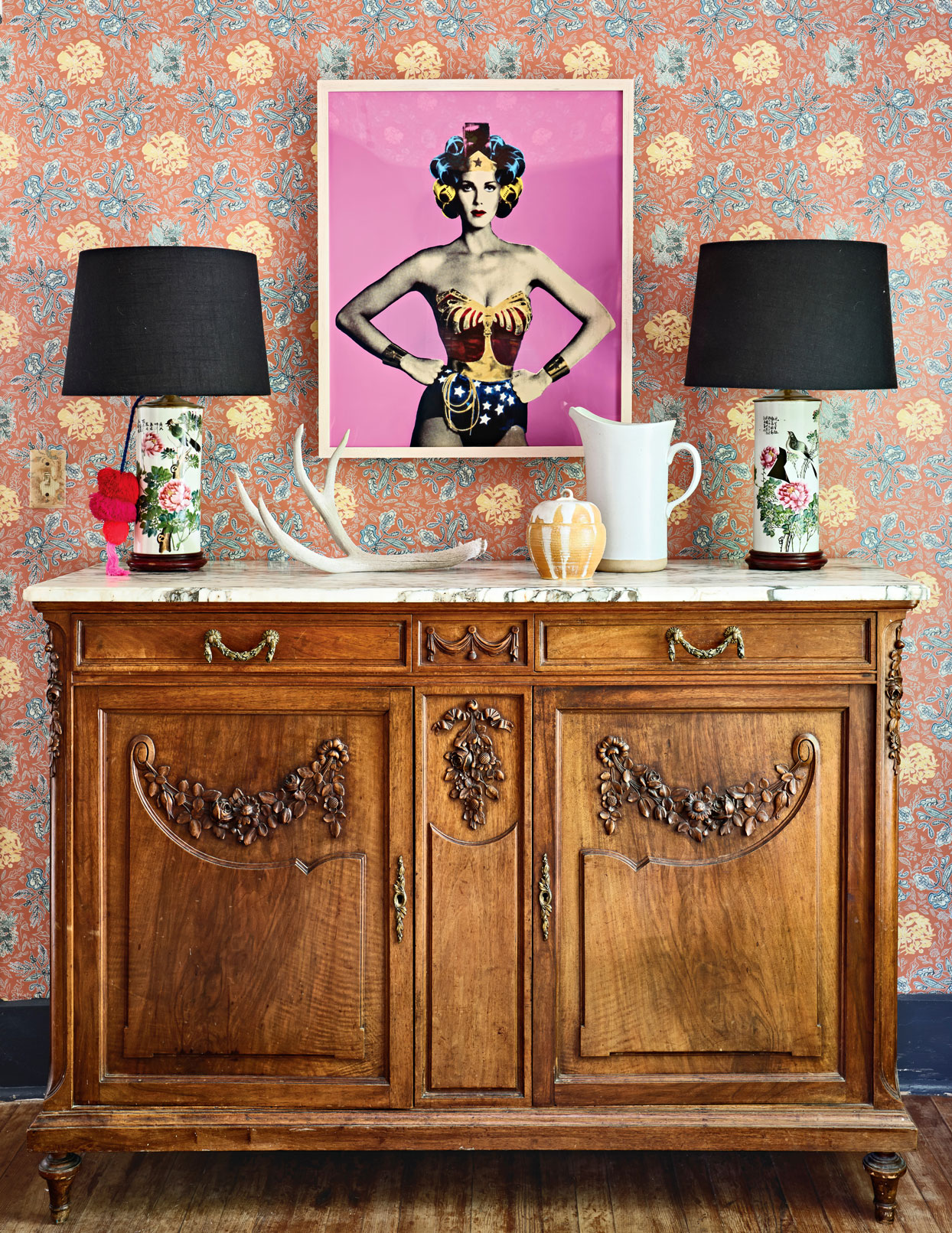 buffet with lamps under wonder woman print