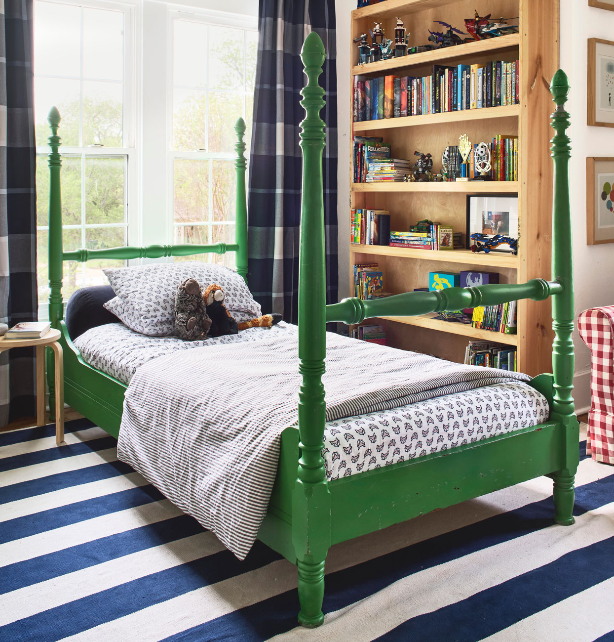 blue and white stripes and plaid in Elliot's bedroom