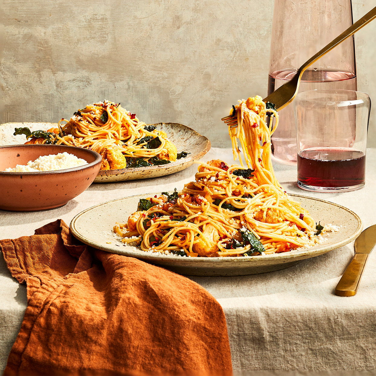 Spicy Cauliflower & Kale Spaghetti