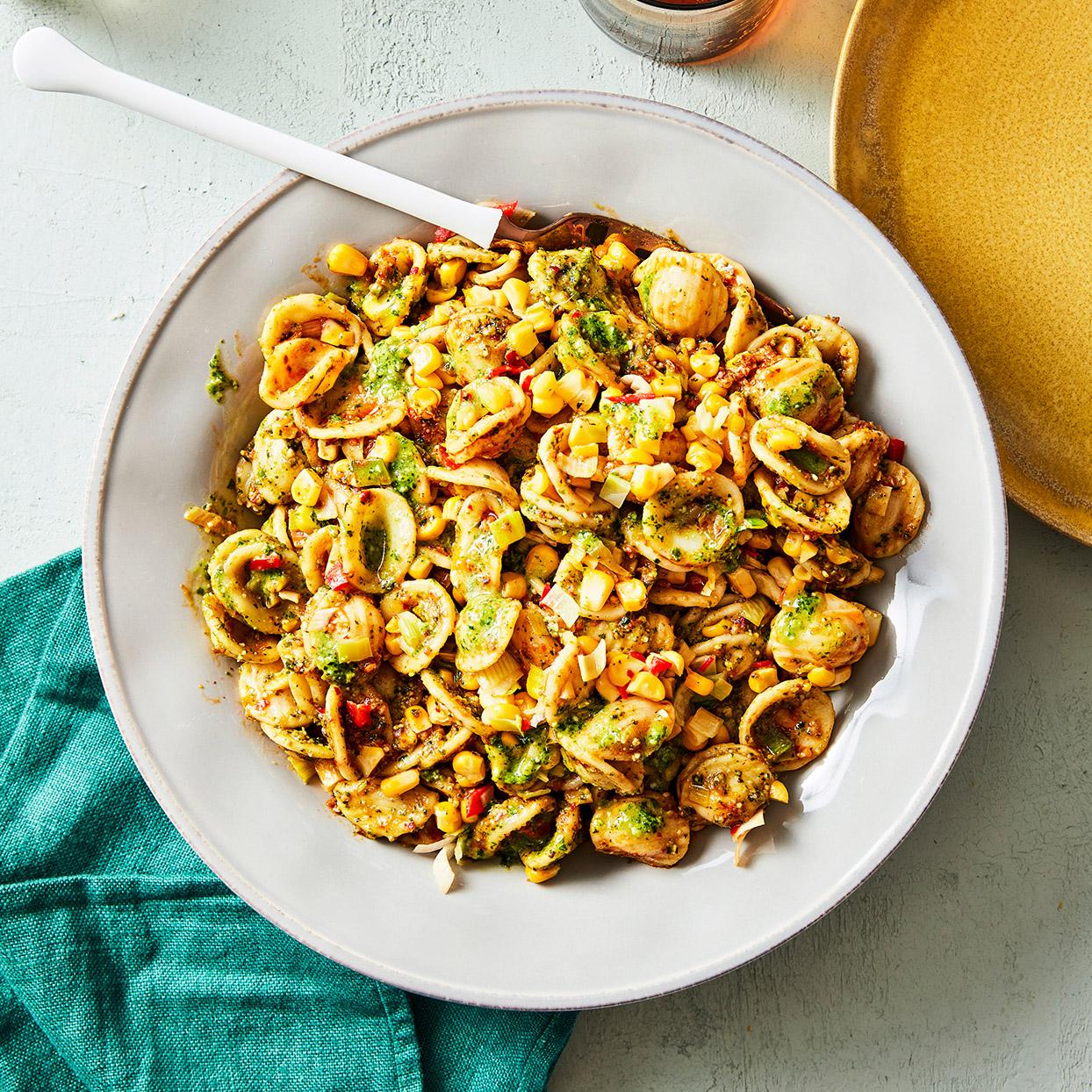 'Nduja & Corn Orecchiette with Pistachio Pesto