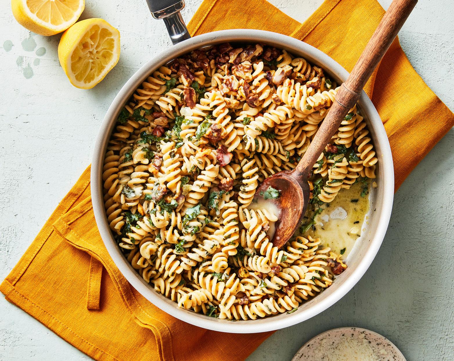 Farro Pasta with Kale & Walnuts
