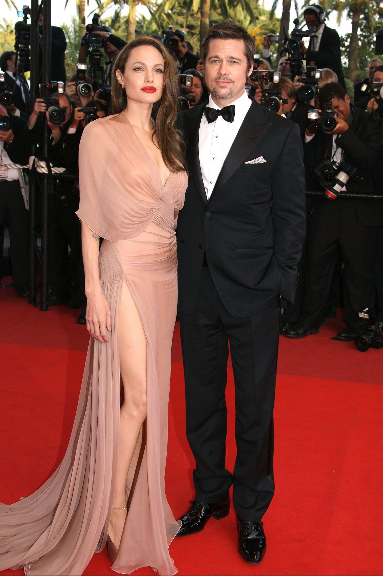 """05/20/2009. Brad Pitt and Angelina Jolie on the red carpet for the movie """"Inglourious Basterds"""". 62nd Cannes Film Festival 2009."""