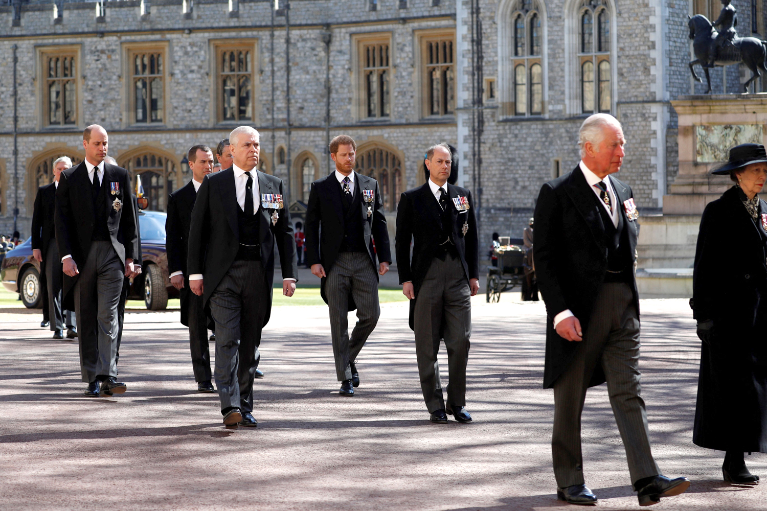 Britain's Prince Charles, Prince of Wales (R), Britain's Prince William, Duke of Cambridge, (L) and Britain's Prince Harry, Duke of Sussex