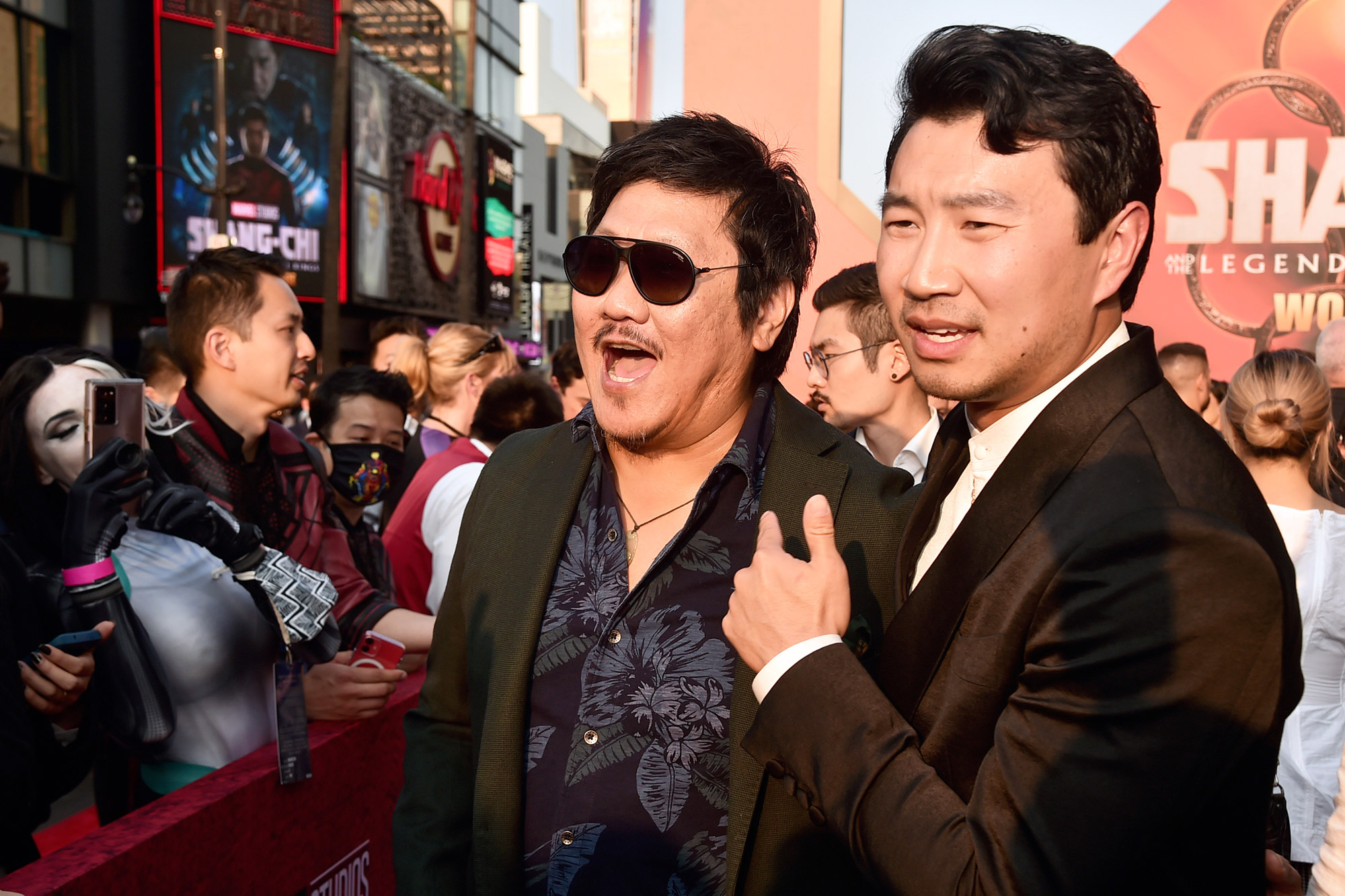 """Benedict Wong and Simu Liu attend the """"Shang-Chi and the Legend of the Ten Rings"""" World Premiere at El Capitan Theatre on August 16, 2021 in Los Angeles, California"""