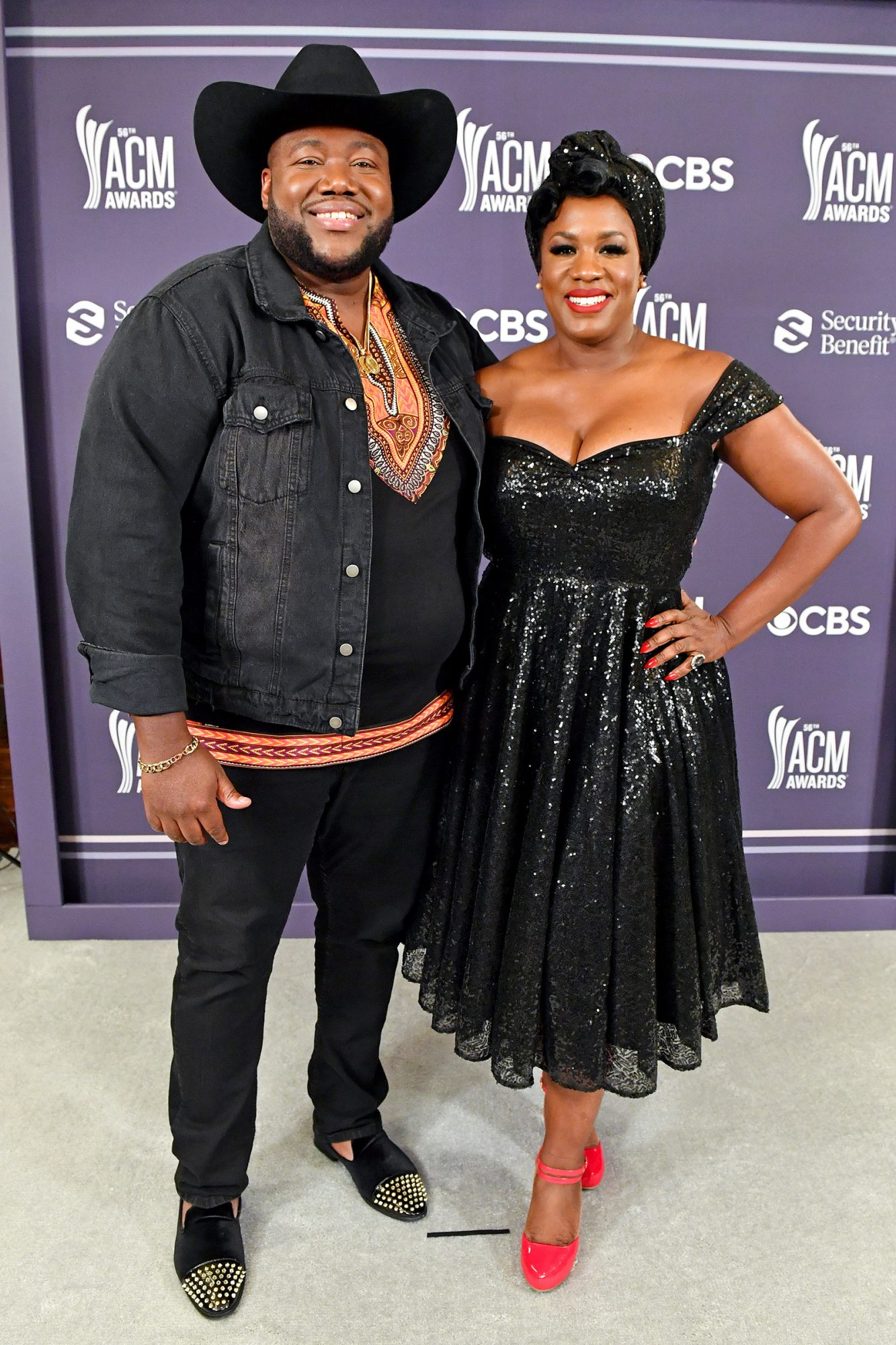Michael Trotter Jr. and Tanya Blount of The War and Treaty attend the 56th Academy of Country Music Awards at The Grand Ole Opry
