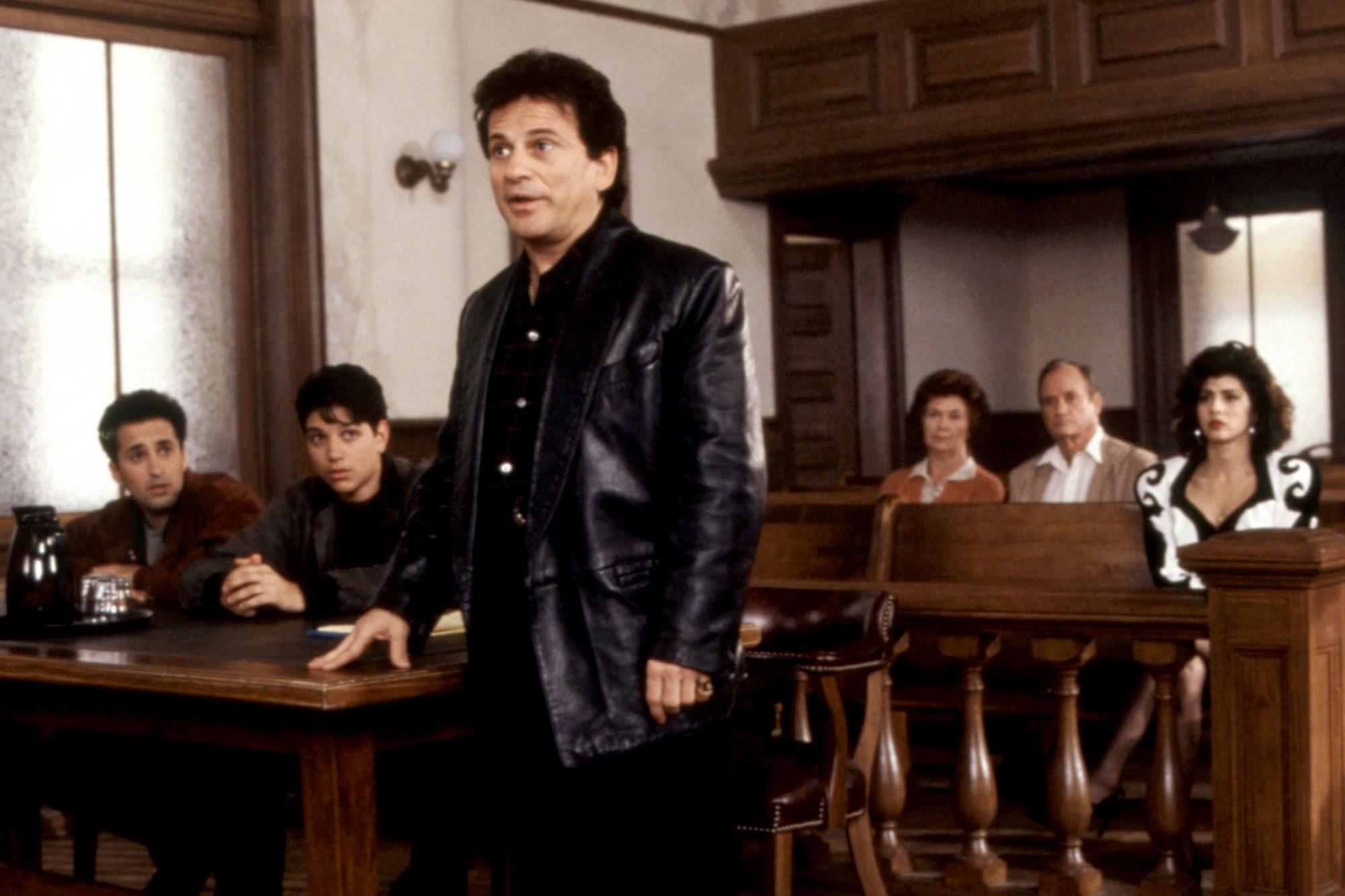 MY COUSIN VINNY, Mitchell Whitfield (far left), Ralph Macchio (second from left), Joe Pesci (third f