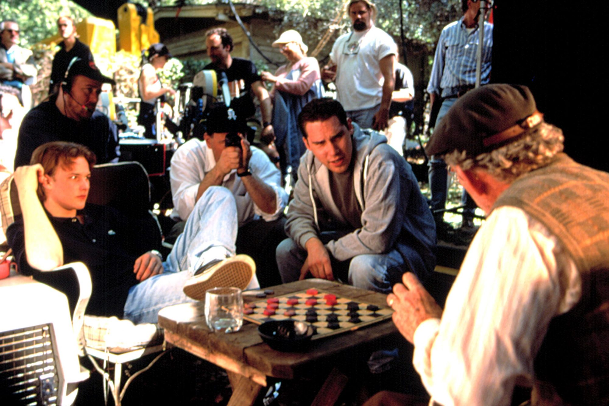 APT PUPIL, Brad Renfro, director Bryan Singer, Ian McKellen on the set, 1998