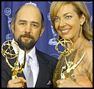 GORGE WASHINGTON Schiff and Janney show off their Emmys, two of the nine ''The West Wing'' scored