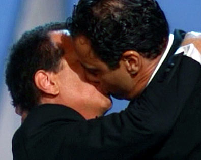 Brad Garrett, Garry Shandling | You knew the 2003 Emmys couldn't resist a parody of Madonna and Britney's infamous liplock at the MTV Video Music Awards — so we got…
