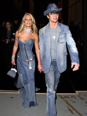 Britney Spears, Justin Timberlake | BLUE HEAVEN Before he got involved in that other wardrobe malfunction, Justin Timberlake and then-girlfriend Britney — drowning in denim at 2001's American Music Awards…