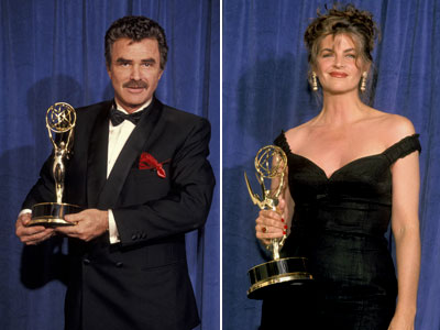 Burt Reynolds, Kirstie Alley | Cheers star Kirstie Alley (right) stunned Emmy watchers in 1991 when she accepted the award for best comedy actress and thanked her husband Parker Stevenson,…