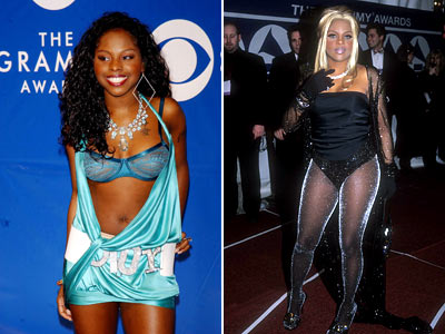 Lil' Kim, Foxy Brown | If you put their outfits together, you'd actually have one properly covered woman.