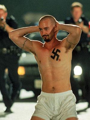 American History X, Edward Norton | I'd never heard of ''curbing'' until I saw Tony Kaye's neo-Nazi diatribe. When Edward Norton's hate ideologue Derek Vineyard forces a black car thief to…