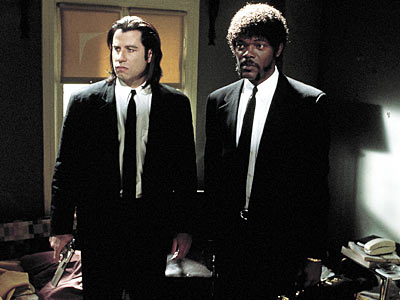 Pulp Fiction (Movie - 1994), John Travolta, ... | JULES WINNFIELD (Samuel L. Jackson) and VINCENT VEGA (John Travolta) Pulp Fiction More curious than France's Royale with cheese is the hit men's choice to…