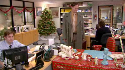 The Office | (''Moroccan Christmas,'' Season 4, Episode 12) Jim Halpert, always thinking of what to get his bullpen-mate for the holidays, decided to wrap Dwight's desk, chair,…