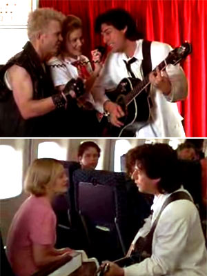 The Wedding Singer, Adam Sandler, ... | Adam Sandler enlists Billy Idol to help him serenade Drew Barrymore on a plane in The Wedding Singer (1998).