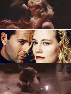 David and Maddie on the glass table in Moonlighting . Whew . — Ken