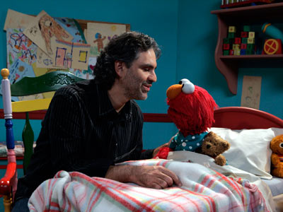 Andrea Bocelli, Sesame Street | ANDREA BOCELLI The blind tenor tries his hand at getting Elmo to sleep, to the tune of ''Time to Say Goodbye,'' with much more soothing…