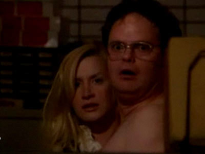 Rainn Wilson, The Office   The Office . After Toby's goodbye party, Phyllis comes into the office and sees the newly engaged Angela having sex on her desk with Dwight…