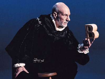 Patrick Stewart, Sesame Street | PATRICK STEWART Shakespeare comes to the Street: Stage lights go up on Stewart, garbed in dark cloak, holding a chunky letter B, and there was…