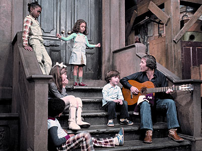 Paul Simon, Sesame Street | PAUL SIMON Yup, Simon — rocking a pageboy haircut — was just hanging on the stoop, singing ''Me and Julio Down by the Schoolyard,'' and…