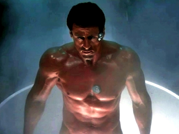 Sylvester Stallone, Demolition Man | in Demolition Man (1993) Sylvester Stallone is a human ice sculpture, chiseled as ever, when he's defrosted from a cryogenic sleep in order to fight…