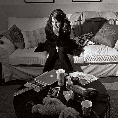 Tina Fey | Fey grabs a quick breather in her dressing room, which — as evidenced by the teddy bear and wooden moose — also serves as a…