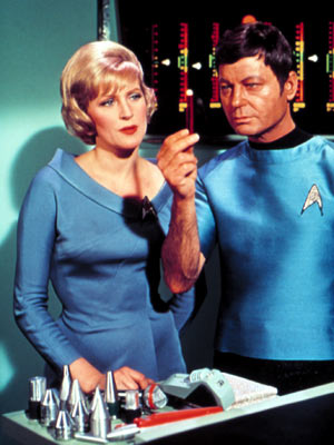 DeForest Kelley, Star Trek (TV Show - 1966) | Majel Barrett Star Trek (1966-1969) A doctor as irascible as Leonard ''Bones'' McCoy needed a nurse with her head on straight and her phaser set…