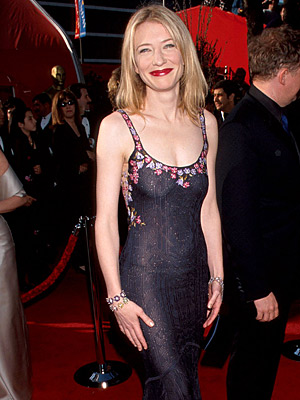 Cate Blanchett | Cate Blanchett (1999) The Best Actress nominee ( Elizabeth ) netted the fashion accolades in this effortlessly slinky, dramatically embroidered John Galliano gown.