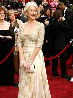 Oscars 2007, Helen Mirren | Helen Mirren (2007) In a stunningly bodice-skimming Christian Lacroix, the Best Actress winner ( The Queen ) gave new life to the term ''silver fox.''