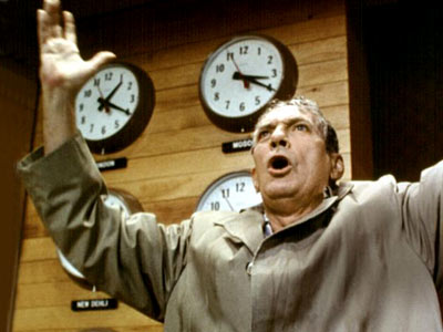 Network, Peter Finch | The iconic scene in Paddy Chayefsky's caustic, barely dated satire of the sensationalist depths of television has unhinged anchorman Howard Beale declaring that he's mad…