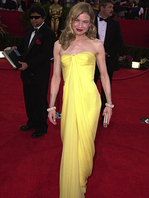 Oscars 2001, Renee Zellweger | Renée Zellweger (2001) With this Jean Desses find from Lily Et Cie, the actress introduced vintage style (and lemony yellow) to the red carpet in…
