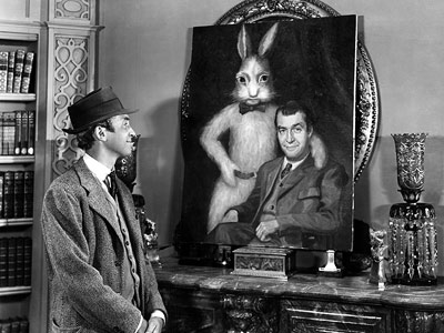 Harvey (Movie - 1950), Jimmy Stewart | Okay, fine. His best friend is an invisible six-foot-three-and-a-half-inch rabbit, but is that any reason to try to put Jimmy Stewart's beloved Elwood P. Dodd…