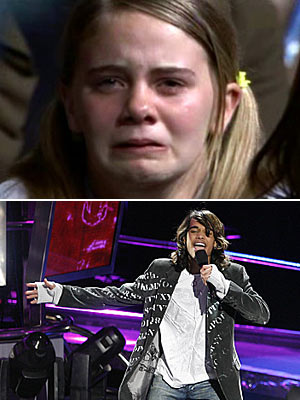 Sanjaya Malakar | Sanjaya moves a fan to tears Apparently, Sanjaya is enough. — AB Classic Idol move: Powerful performance Tear-worthiness: Ugly cry
