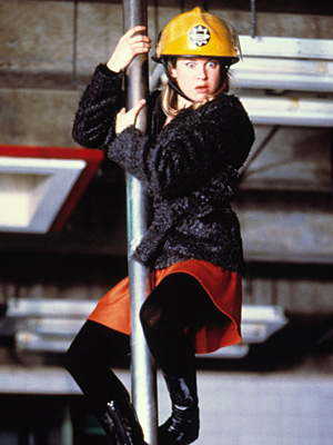 Bridget Jones's Diary, Renee Zellweger   Apparently, the best/easiest way to make a woman seem vulnerable/single is to have her fall on her butt or walk face-first into something. The pratfall…
