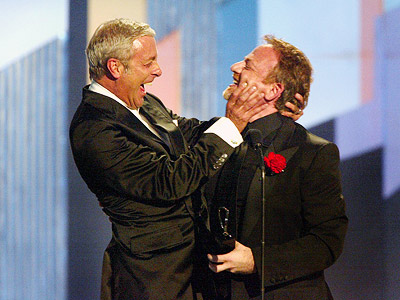 Marc Shaiman, Scott Whitman, ... | MARC SHAIMAN AND SCOTT WHITMAN SHARE A BIG KISS (2003) In a Tony ceremony that even Bravo might have thought was too gay, the pinnacle…