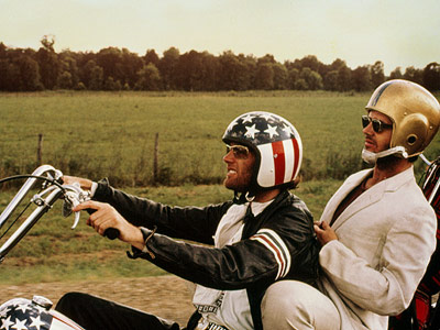 Captain America (Peter Fonda) and Billy (Dennis Hopper) mount their choppers to go looking for America but, as the movie's ad tagline noted, couldn't find…