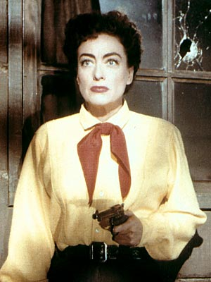Joan Crawford, Johnny Guitar | NO. 19: JOAN CRAWFORD as Vienna in Johnny Guitar (1954) WHO IS SHE? In this rare cowgirl-centered Western, she's a saloonkeeper who's persecuted by townsfolk…