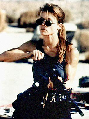 Linda Hamilton, Terminator 2: Judgment Day | NO. 8: LINDA HAMILTON as Sarah Connor in The Terminator (1984) and Terminator 2: Judgment Day (1991) WHO IS SHE? She learns in Terminator that…