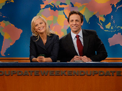 Amy Poehler, Seth Meyers, ...   When Tina Fey left to launch 30 Rock , Meyers slid into the seat, offering yet another solid base for Poehler's brand of news-whimsy. Of…