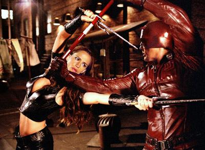 Ben Affleck, Jennifer Garner, ... | Daredevil 's concept, borrowed from the Marvel comic, was cool — a blind superhero (Ben Affleck) fights crime using his other heightened senses — but…