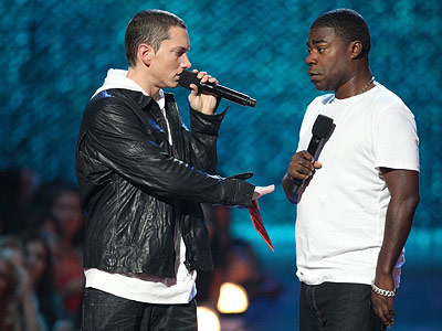 Eminem, Tracy Morgan   The comedian and the shock rapper's interstitial promo spots were funnier than anything host Russell Brand said all night. If Morgan ever wants to release…